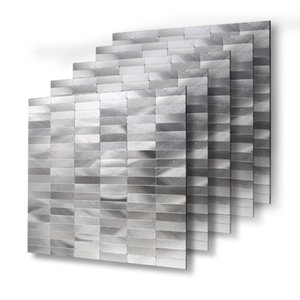Wholesale 4 Sheets Peel and Stick Wall Tiles Backsplashes 12'' X 12'' Waterproof Metal Wall Stickers for Wall Decor 30cm Alloy T200608