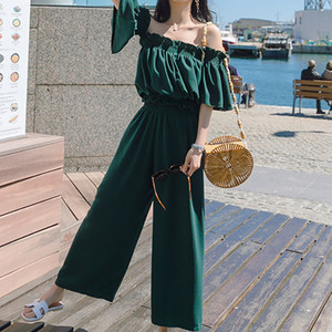 Heliar 2020 Summer Two Piece Outfits Women Off Shoulder Jumpsuits Palazzo Playsuits Party Ruffle Strap Women Summer Jumpsuits X0923