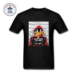 Été naturel à manches courtes T-shirts Vêtements pour hommes Looney Tunes Daffy Duck Mugshot en coton imprimé T-shirt drôle pour les hommes 1005