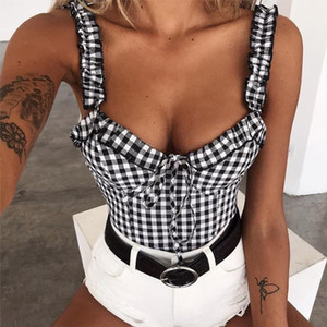 Fashion Women Boho Beach Summer Crop Top Elegant Bowknot Checkerboard Vest Sleeveless Tank Playa Tunique Debardeur Femme