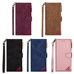Fashion Zipper Leather Wallet Pocket ID 3 Card Slot Holder Flip Cover Case for iPhone 12mini pro max 11 Samsung S20 FE S20 PLUS NOTE20 Ultra
