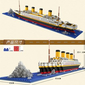 1860 Pcs. No Match RS inglys Titanic Sets Model Cruise Ship Boat DIY Building Diamond Mini Blocks Set Kids Toy Nano