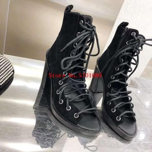 Genuine Leather delle donne di colore della pelle scamosciata Lace-up sandali Paris Fashion Week Runway Toe Shoes Sandali Lace-up