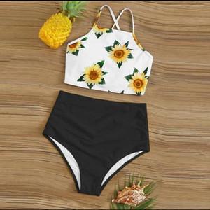 Sunflower Print Bathing Swimsuit Women High Waist Tankini Summer Vacation Beach Bikinis Sets Female Sexy Casual Bikini Swimwear