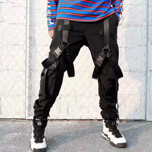 LAPPSTER 2020 Streetwear Hip Hop Cintas Joggers pantalones pantalones del cargo de los hombres del negro del estilo japonés modas pista Vestimenta