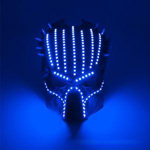venta caliente de Halloween la mascarilla de 6 colores depredador Mascarillas llevado tema de la película máscara 5V apoyos cosplay Diseñador luminosos GWD2323