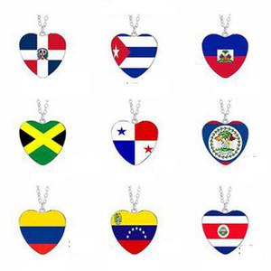 Europe and America Love Flag Necklace Panama Jamaica Cuba Haiti Dominica Venezuela Belize Columbia Time jewel pendent LJJJ60