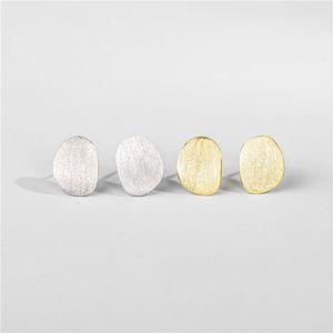 Sodrov argento 925 personalizzata ovale spazzolato orecchini temperamento rotonda fibbia gioielli in argento orecchini Stud