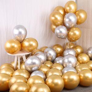 10-50pcs 10 12Inch metal balloon birthday party latex balloons rock scene decoration gold silver wedding helium baloon