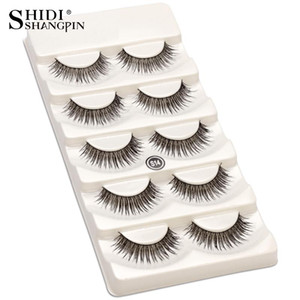 5 Pairs 100% Handmade Natural Black 10 mm Top Brand False Eyelashes Lashes Makeup Eye Lashes Beauty Tools Wispy Fake S14