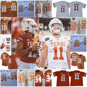 Texas Longhorns 5 Bijan Robinson # 11 Sam Ehlinger Jersey Vintage # 10 Vince Young # 20 Earl Campbell # 34 Ricky Williams Texas Longhorns Jersey