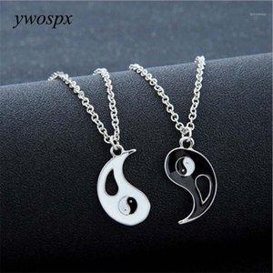 YWOSPX 1pair Charm Lovers Collana Hot Yin Yang CollanaSbendants Black Bianco Coppia Gioielli Regali Y401