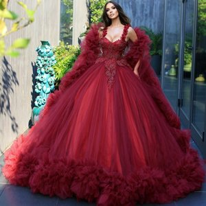 Dark Red Vintage Quinceanera Dresses with Ruffles Wrap Lace Appliqued Saudi Arabic Luxury Evening Gowns Sweet 16 Dress