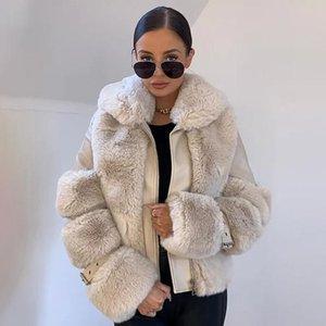 Женский меховой меховой из искусственной гадара модные пальто женщины элегантный поворот вниз воротник кожаная куртка твердая застежка на молнии толстые дамы