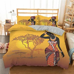 Boniu Africa Women Bedding Set Comforter 3d Quilt Cover With Pillowcase Queen Duvet Covers For Bedroom Bedspread