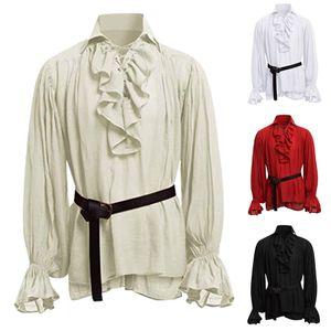 Hawcoar Vintage Yüksek Kalite Moda Erkekler Bandaj Uzun Kollu Ortaçağ Gömlek Gotik Adam Bluz Toptan Ücretsiz Gemi Z4 Y0104