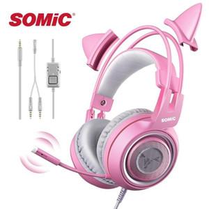 Somic G951S 핑크 소녀 고양이 귀길 헤드폰 3.5mm 플러그 PC 용 귀여운 헤드셋 Xbox 한 전화 패드 소녀 키즈 게임 헤드셋 1
