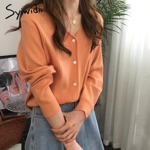 Syiwidii Women Cardigans 2020 Casual Fashion Ladies Slim Kidted Suéter de punto Manga Larga Botones Coreanos Tops Verde Pink 2020