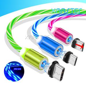 유형 C USB 케이블 빠른 충전기 LED 흐르는 빛 자기 케이블 빠른 충전 라인 3FT 2A 마이크로 충전 코드 삼성 Huawei Xmaster