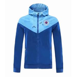 Glasgow Rangers rüzgarlık fermuar ceket Kapşonlu futbol WINDBREAKER Futbol ceket Spor tam fermuarlı ceket Erkekler Ceketler