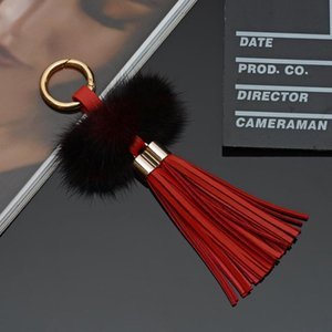 New Leather Tassels With Mink Ball Key Chain Bag With Two Tassels For Key Keychain Fur Eh815 Ring Car H Jewelry BbyllY Csknc