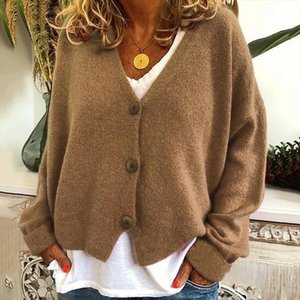 Fashion Casual Loose V Neck Long Sleeve Open Sweater For Autumn Winter Female New Hot Sale With Button Cotton Sweaters Top