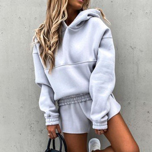 Sonbahar Eşofman Bayan 2 Parça Set Kapüşonlu Uzun Kollu Hoodies Ve Şort Kadın Setleri Kış Rahat Bayanlar Suits