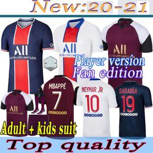 Adult kids suit with socks Maillots de football kits 20 21 Player version Paris soccer jersey 2020 Paris MBAPPE ICARDI NEYMAR shirt uniform