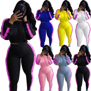 13ALS213 Autumn Winter Women Outdoor Casual Solid Letter Print Sports Two Piece Set Top and Pants Tracksuit Sweatsuit Outfits