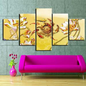 Wall Art Kanvas Resim Sergisi Sanat Duvar Resmi Ev Dekorasyonu Boyama 5 Panel Duvar Posterler Ve Baskılar Vintage Çin Lotus Ve Balık