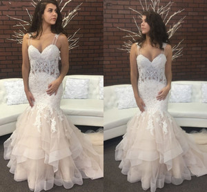 Ruffle Mermaid Wedding Reception Dresses Champagne 2021 Spaghetti Straps Beaded Lace Applique Tulle Formal Dress Party Womens Bridal Gowns