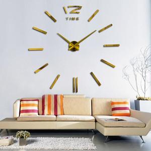 큰 벽 시계 3D DIY 시계 시계 아크릴 거울 스티커 현대 디자인 큰 침묵 벽 시계 거실 홈 오피스 장식