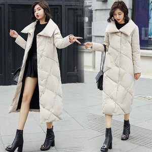 Autumn And Winter Korean Version The Loose Down Jacket Fashion Lapel White Duck Down The Long Paragraph Comfortable Warm Coat587