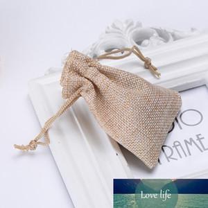 Wholesale- 50pcs Lot Linen Bag Drawstring Wedding&Christmas Packaging Pouchs & Gift Bags Small Jewelry Sachet &Mini Jute bags Free shipping