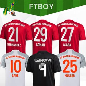 20 21 fãs Versão do jogador Sane Lewandowski Coman Gnabry Alaba Davies Muller Soccer Jersey 2020 2021 Camisa de Futebol Homens Crianças Define Uniforme