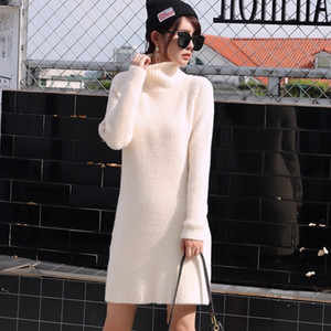 GIGOGOU Long Sleeve Sweater Thick Warm Autumn Winter Dress Chic Women Turtleneck Short Mini Knitted Pullover Dresses
