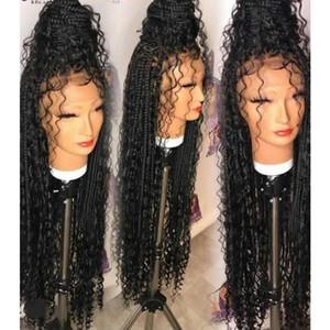 New Natural 13x4 Lace Frontal Deuses Caixa de Caixa Tranças Perucas Estilo Curly Parte Livre Sintética Suíça Rendas Perucas dianteiras para mulheres negras