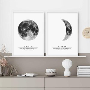 Personalized Moon Phase Moon by date Wall Art Canvas Painting Poster Print Wedding Keepsake gift Picture Kids Room Home Decor