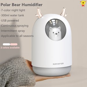 USB Humidifier 300ml Cute Pet Ultrasonic Cool Mist Aroma Air Oil Diffuser Romantic Color LED Lamp Humidificador Home Appliances