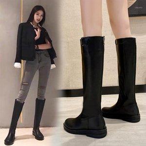 Ayakkabı Fermuar Yuvarlak Ayak Med Topuk Çizmeler Kış Ayakkabı Çizmeler-Kadınlar Sonbahar 2020 Bayanlar Üzerinde Diz Kaya Kauçuk PU Basic Rome1