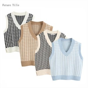 Women Sweater Vest 2020 Fashion Houndstooth Loose Knitted Vest Sweater V Neck Sleeveless Side Vents Female Waistcoat Chic Tops