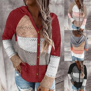 Manga del botón de otoño cuello en V suéter con capucha de las mujeres ahueca hacia fuera el remiendo de la raya de punto suéteres Cardigan largo Tops Jumper