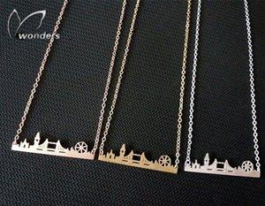 Atacado-2015 Skyline moda jóias ouro / prata / Rose Gold Amizade presente Stainless Steel Cityscape Londres Colar Pingente rO9O #