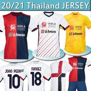 20 21 21 Cagliari Calcio Soccer Technsys Tentenary Joao Pedro Godin Nandez Nainggolan Jersey Men Kity Kit Maglie Da Юбилейные рубашки Uomini