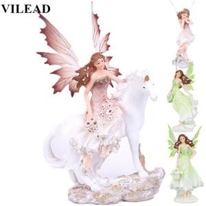 VILEAD 7 Styles Resin Unicorn Horn Fairy Angel Figurines Lovely Girl Flower Fairy Statue Home Decor Creative Gift Fairy Garden 1007