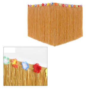 Hawaiian Straw Table Skirt , Fringe Party Decoration for Graduation Ceremony or Costume Party