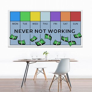 Never Not Working Canvas Prints Picture Modular Paintings For Living Room Poster Wall Home Decor Canvas Wall Art