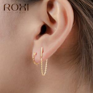 Roxi Minimalist 925 Ayar Gümüş Zincir Damla Küpe Kadınlar Hediye için Kore Takı Kişilik Asılı Dangle Küpe Brincos