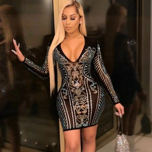 Fashion Sexy Tight Skirts Womens Sexy V-neck Hot Drilling Nightclub Dress 2020 Trendy Bodycon Dresses Youth Hot Style Free Shipping