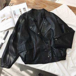 FTLZZ donna breve Pu Punk Leather Jacket Slim Zipper Faux Cappotti Donna monopetto Moto Outerwear Y201001